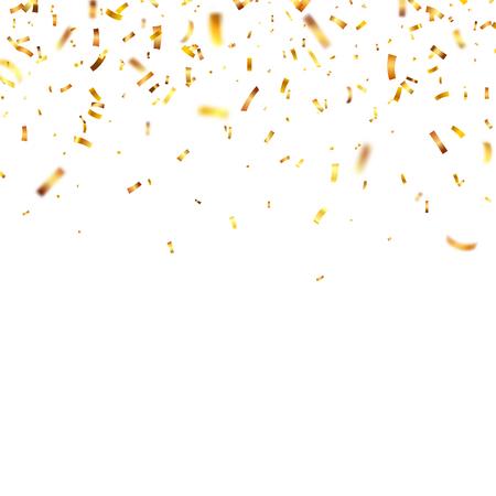 ゴールデン クリスマス紙吹雪。ゴールド カラーの落下の光沢のある紙吹雪光る。新年、誕生日、バレンタインデー デザイン要素。休日の背景。  イラスト・ベクター素材