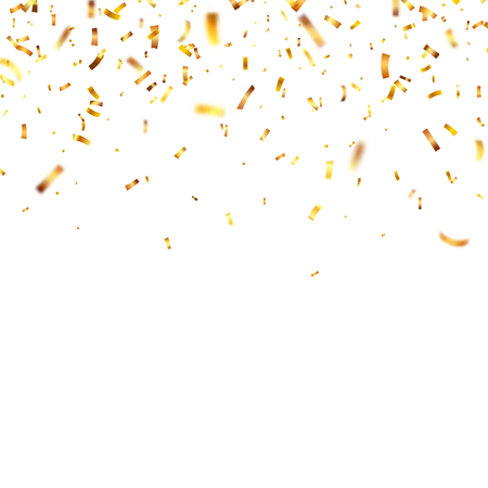 Christmas golden confetti. Falling shiny confetti glitters in gold color. New year, birthday, valentines day design element. Holiday background. Illusztráció