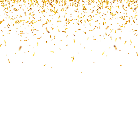 Christmas golden confetti. Falling shiny confetti glitters in gold color. New year, birthday, valentines day design element. Holiday background. Imagens