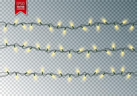 lumières festives de noël . guirlande rougeoyante rougeoyante sur fond transparent . décoration colorée pour noël et les vacances de nouvel an