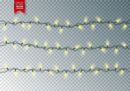 Christmas festive lights. Decorative glowing garland on transparent background. Shiny colorful decoration for Christmas and New Year holidays.