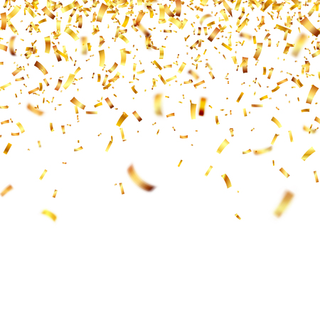 Christmas golden confetti. Falling shiny confetti glitters in gold color. Illusztráció