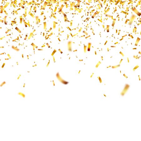 Christmas golden confetti. Falling shiny confetti glitters in gold color. Illustration