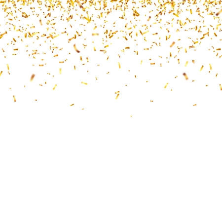 Christmas golden confetti. Falling shiny confetti glitters in gold color. New year, birthday, valentines day design element. Holiday background. Ilustração