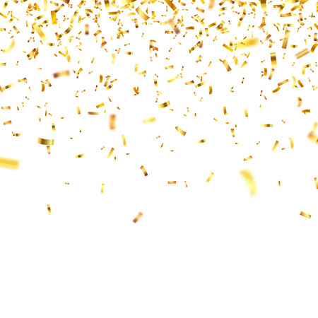 Christmas golden confetti. Falling shiny confetti glitters in gold color. New year, birthday, valentines day design element. Holiday background.  イラスト・ベクター素材