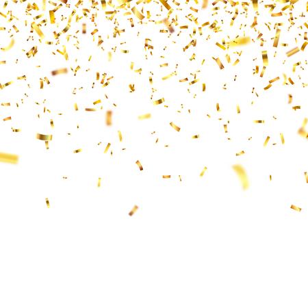 Confete dourado de Natal. Confete brilhante caindo brilha na cor do ouro. Ano novo, aniversário, elemento de design dia dos namorados. Fundo de férias.