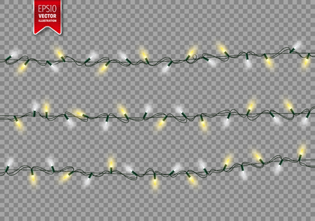 Christmas Festive Lights. Decorative Glowing Garland Isolated on Transparent Background. Shiny Colorful Decoration for Christmas and New Year Holidays. Vettoriali
