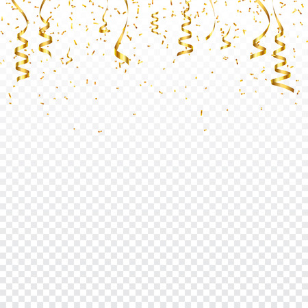 Christmas golden confetti with ribbon. Falling shiny confetti glitters in gold color. New year, birthday, valentines day design element. Holiday background. Vectores