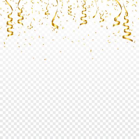 Kerst gouden confetti met lint. Vallende glanzende confetti glitters in gouden kleur. Nieuwjaar, verjaardag, Valentijnsdag ontwerpelement. Vakantie achtergrond. Vector Illustratie