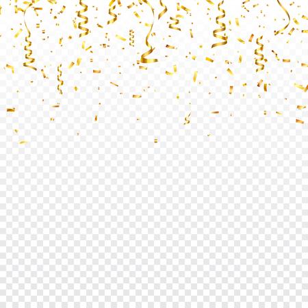リボンのクリスマスゴールデン紙吹雪。落ちる光沢のある紙吹雪は、金色に輝きます。新年、誕生日、バレンタインデーのデザイン要素。休日の背