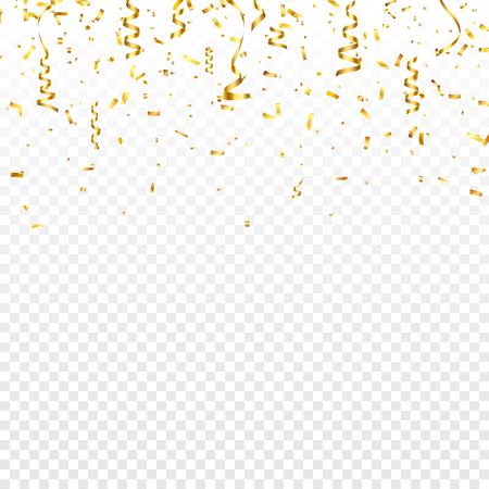 Christmas golden confetti with ribbon. Falling shiny confetti glitters in gold color. New year, birthday, valentines day design element. Holiday background. Illusztráció
