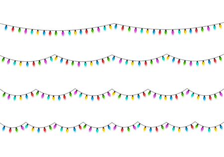 クリスマス輝くライトデザイン要素。  イラスト・ベクター素材