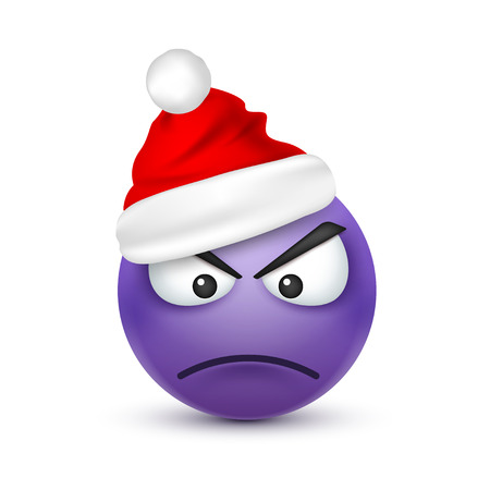 Smiley,emoticon. Violet emoji, face with emotions and Christmas hat. New Year, Santa.Winter. Sad,happy,angry faces.Funny cartoon character.Mood. Vector.