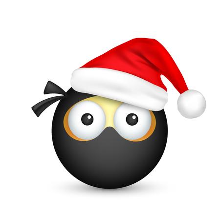 Black emoticon with santa hat.