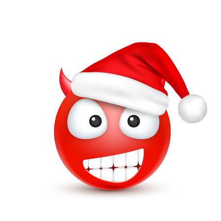 Red emoticon with santa hat. Illustration