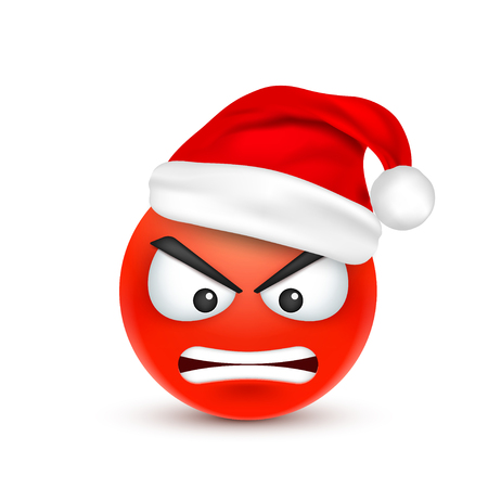 Face with emotions and Christmas hat illustration. Illustration