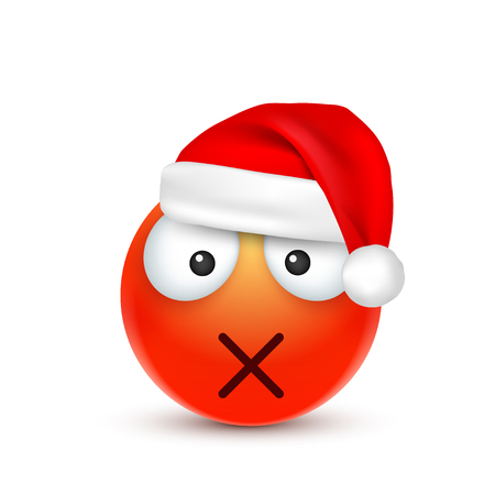 smileyemoticon red emoji face with emotions and christmas hat new year - Christmas Smiley Faces