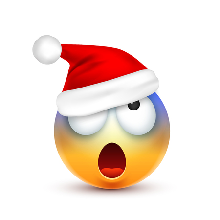 Face with emotions and Christmas hat cartoon character illustration. Illustration