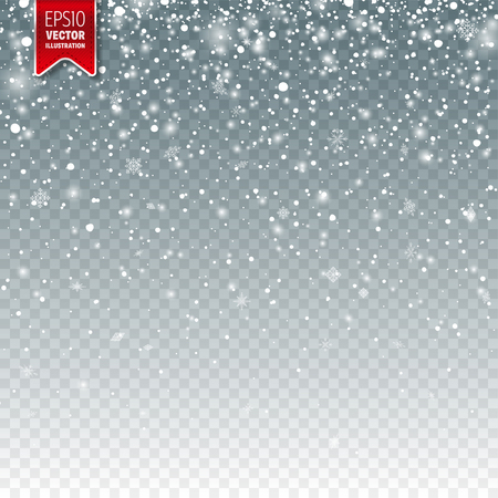 Snow with snowflakes. Winter background for Christmas or New Year holidays. Falling snow effect illustration.
