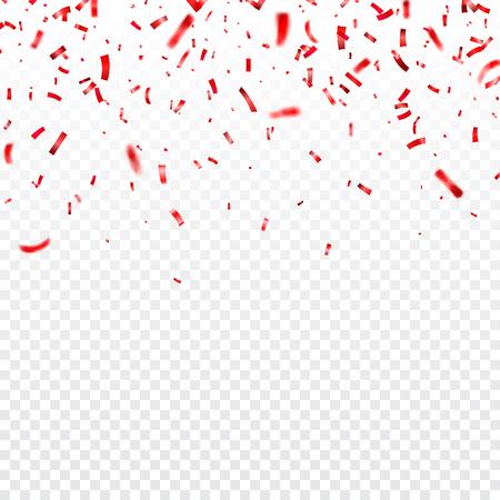 Valentine's day red confetti on transparent illustration. 일러스트
