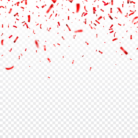 Valentines day red confetti on transparent illustration.