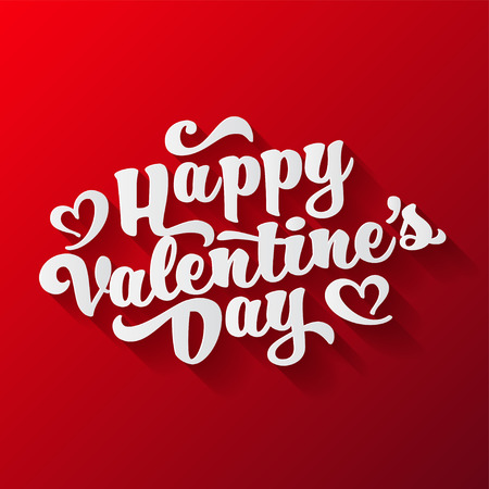 Valentines day oblique lettering. Handwritten romantic greeting card with text happy valentines day.