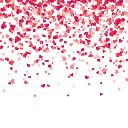 Confeti del corazón. Fondo del día de San Valentín, para mujer, de madres con los corazones de papel rojos y rosados que caen, pétalos. Tarjeta de felicitación de boda. 14 de febrero, amor. Fondo blanco.