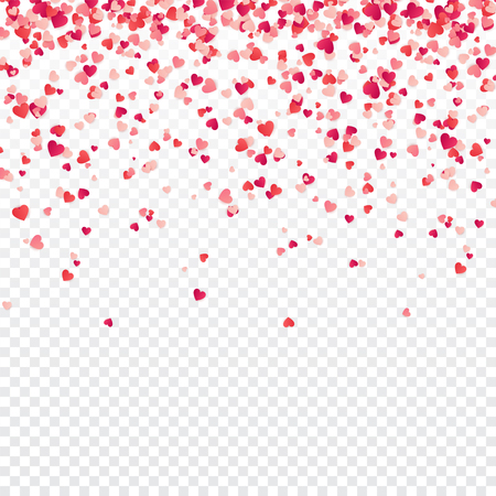Heart confetti. Valentines, Women's, Mothers day background with falling red and pink paper hearts, petals. Greeting wedding card. February 14, love.Transparent background. 向量圖像