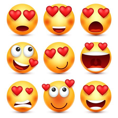 Valentines day smiley. Emoji with heart. Love, february 14. Vettoriali