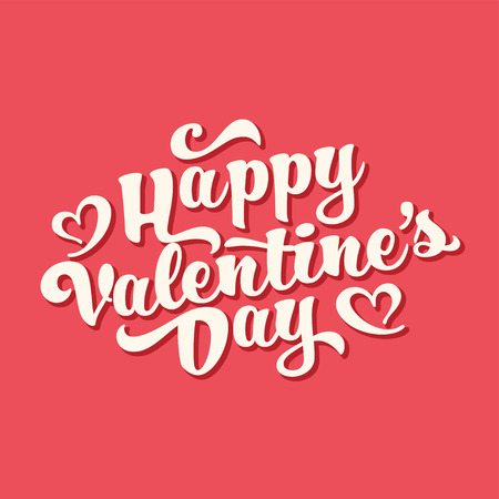 Valentines Day Oblique Lettering. Handwritten Romantic Greeting Card with Text Happy Valentines Day. February 14, Love and Heart.