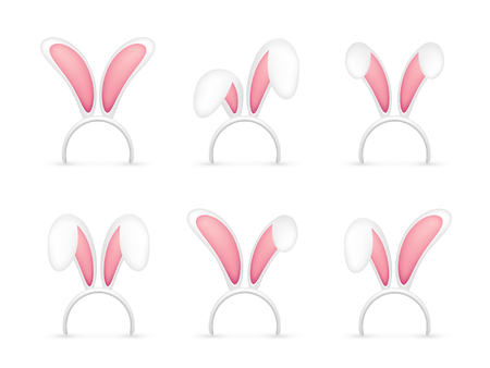 Easter bunny ears, pink and white mask with rabbit ear. Spring seasonal cute hat, April and March holidays. Illustration