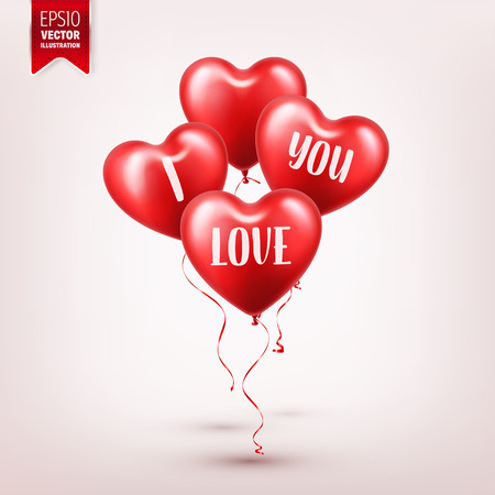 Valentines day red balloon with ribbon. Heart shape. Love, february 14. Illustration