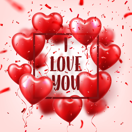 Valentines day abstract background with red 3d balloons with confetti. Heart shape. February 14, love. Romantic wedding greeting card.