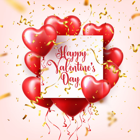 Valentines day abstract background with red 3d balloons and golden confetti. Heart shape. February 14, love. Romantic wedding greeting card.
