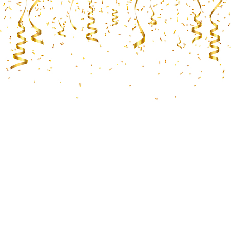 Christmas golden confetti with ribbon. Falling shiny confetti glitters in gold color. New year, birthday, valentines day design element.