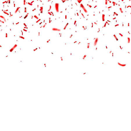 Christmas, Valentines day red confetti on transparent background. Falling shiny confetti glitters. Festive party design elements. Illusztráció