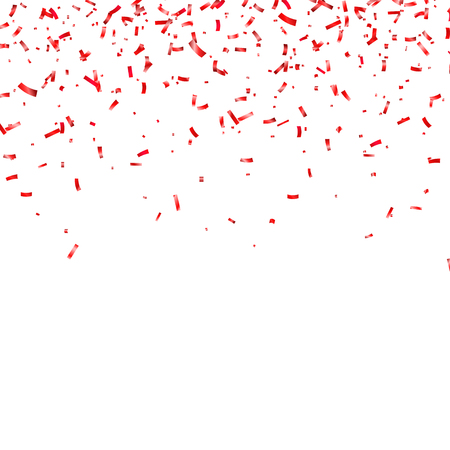 Christmas, Valentine s day red confetti on transparent background. Falling shiny confetti glitters.