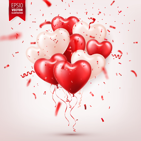 Valentines day abstract background with red 3d balloons and confetti. Heart shape. February 14, love. Romantic wedding greeting card.