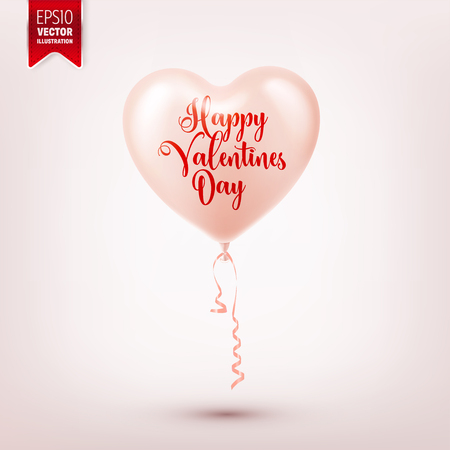 Valentines day abstract background with red 3d balloons. Heart shape. February 14, love. Romantic wedding greeting card. Banco de Imagens - 94959163