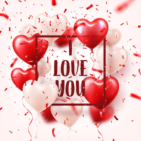 Valentines day abstract background with red 3d balloons and confetti.