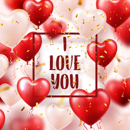 Valentines day abstract background with red 3d heart balloons and golden confetti.