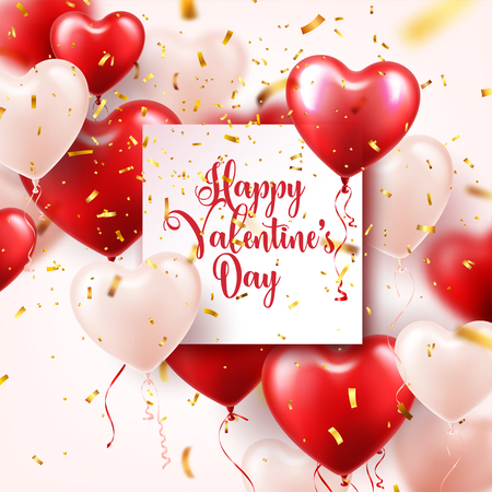 Valentine's day abstract background with red 3d heart shaped balloons and golden confetti.