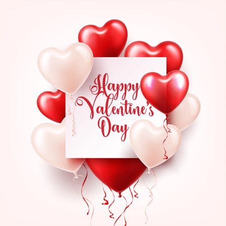 Valentines day abstract background with red 3d heart balloons. Ilustração