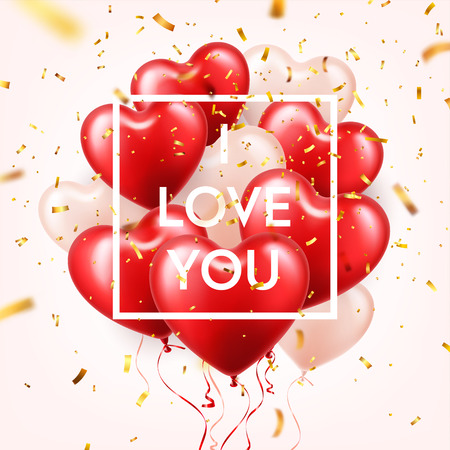 Valentines day abstract background with red 3d heart balloons and golden confetti