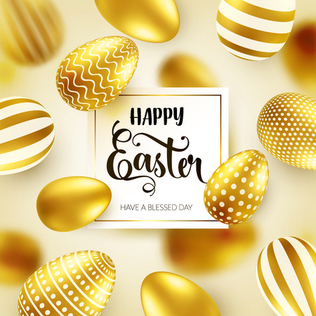 Easter golden egg with calligraphic lettering, greetings. Traditional spring holidays in April or March. Sunday. Eggs and gold. Zdjęcie Seryjne - 95244510