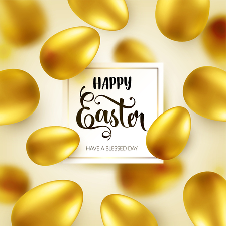 Easter golden egg with calligraphic lettering, greetings. Traditional spring holidays in April or March. Sunday. Eggs and gold. Zdjęcie Seryjne - 95243280