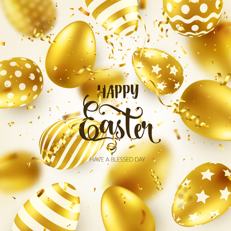 Easter golden egg with calligraphic lettering, greetings. Confetti and ribbon.Traditional spring holidays in April or March. Sunday. Eggs and gold. Zdjęcie Seryjne - 95254158