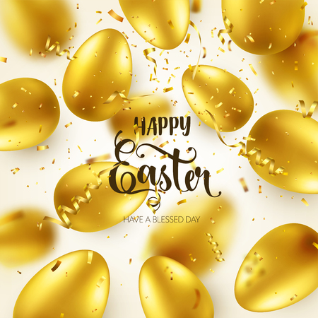 Easter golden egg with calligraphic lettering, greetings. Confetti and ribbon.Traditional spring holidays in April or March. Sunday. Eggs and gold. Zdjęcie Seryjne - 95244512