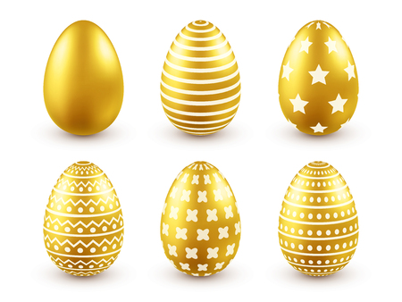 Easter golden egg. Traditional spring holidays in April or March. Sunday. Eggs and gold.Big set
