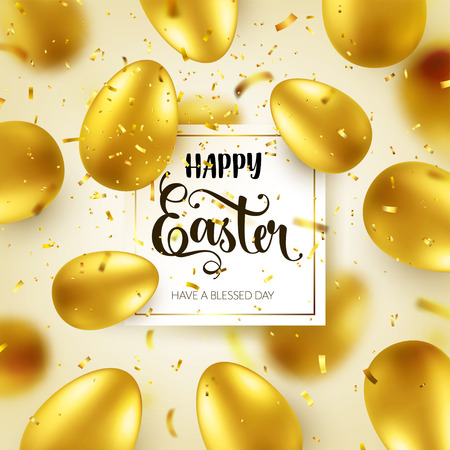 Easter golden egg with calligraphic lettering, greetings. Confetti and ribbon.Traditional spring holidays in April or March. Sunday. Eggs and gold. Zdjęcie Seryjne - 95244511